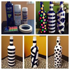 Tape and spray paint! Glass Bottle Crafts, Wine Bottle Art, Painted Wine Bottles, Diy Bottle, Bottles And Jars, Glass Bottles, Beer Bottle, Vodka Bottle, Alcohol Bottles