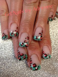 Mint & Coral Cheeta Nails. Check out more nail designs at Gel Nails by Adrienne on Facebook