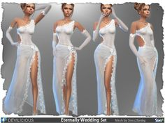 Created By Devilicious Eternally Wedding Set Created for: The Sims 4 Eternally Wedding Set includes a dress and gloves. Dress: Transparent skirt, slightly transparent top with flower lace trims Dress. Sims 4 Wedding Dress, Long Wedding Dresses, Mods Sims, Casas The Sims 4, Sims 4 Dresses, Wedding Dressses, Sims 4 Mm, Transparent Dress, Sims 4 Update