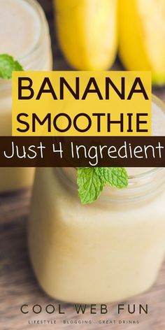 Banana Smoothie: Easy 4 Ingredient Yummy Banana Smoothie Recipe - Cool Web Fun - Healthy banana smoothie recipe for everyone. Th easy banana smoothie which you can make just in minutes. This is a very simple banana smoothie recipe for kids. Smoothie Recipes For Kids, Breakfast Smoothie Recipes, Easy Smoothies, Shake Recipes, Fruit Smoothies, Banana Breakfast, Banana Recipes For Kids, Frozen Banana Recipes, Pineapple Banana Smoothie
