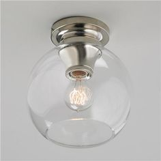 Modern Update Globe Ceiling Light pol nickel 9.25h x 8.5 w
