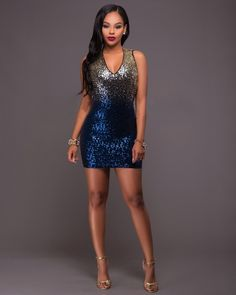 US$ 9.6000 Sparkling Sequins Stretch Mini Club Dress LE3750