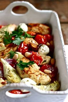 Mediterranean baked chicken. *A simple baked chicken dish packed with Mediterranean flavors. Everything cooks in one pan so that all of the ingredients can happily infuse.