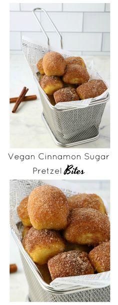 Vegan Cinnamon + Sugar Pretzel Bites - Eat. Drink. Shrink. Pretzel Dip, Pretzel Bites, Vegan Sweets, Vegan Desserts, Cinnamon Sugar Pretzels, Pretzels Recipe, Dry Yeast, How To Make Bread, Bite Size