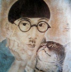 Autoportrait dans l'atelier. Huile. 81x61. 1926. Musée des Beaux-Arts. (Lyon.) Comment imaginer Foujita sans les chats? Il les a si souvent peints et dessinés qu'ils sont à jamais associés à son oeuvre. Ils ont trouvé en lui, le plus amoureux, le plus...