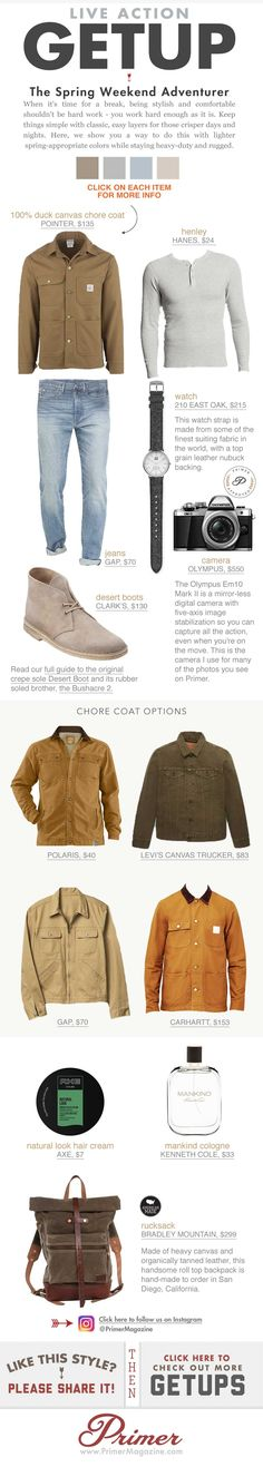 When it's time for a break, being stylish and comfortable shouldn't be hard work - you work hard enough as it is. Keep things simple with classic, easy layers for those crisper days and nights. Here, we show you a way to do this with lighter spring-appropriate colors while staying heavy-duty and rugged.