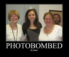 photobombed by Jesus - can't help it...this cracked me up!
