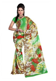 Fabdeal Beige & Green Colored Dani Georgette Printed Saree
