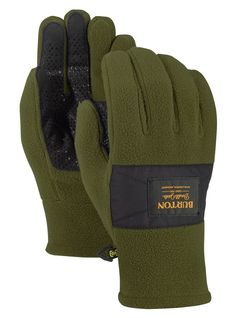 GENTS FLEECE WITH LEATHER PALM GLOVES IN COLOR FOREST GREEN  LARGE