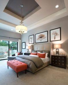 feng shui, schlafzimmer in grau und orange, dekokissen, bilder, wanddeko