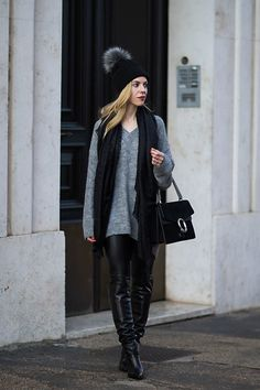 More looks by Meagan: http://lb.nu/meagansmoda  #chic #edgy #street #oversizedsweater #pomhat #beanie #pombeanie #gucci #dionysusbag