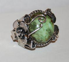 Vintage Sterling Silver Natural Green Jasper Flower by Savesitall
