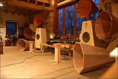 """Oswald's Mill Audio. The house is a museum of vintage tube equipment (the 200w 5 channel """"Fantasound"""" set-up used in the '40s performances of Fantasia; Pultecs; Telefunken V72; Ampex tape machines from the '50s, an old RCA lathe used for acetate transfers of radio shows). The tour of the house ended in his workshop where all his turntables, speakers and amps (retail and prototype) reside."""