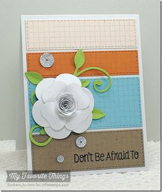 paid and stripes Miss You leaves Handmade Card with flower