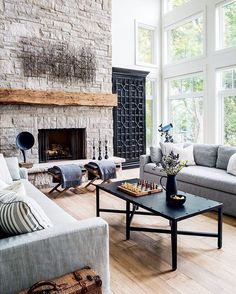 """2,036 Likes, 13 Comments - Style at Home (@styleathome) on Instagram: """"Natural tones of wood and stone played against sleek black accents creates character in a space.…"""""""