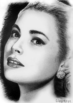"Saatchi Online Artist: Ged Casserley; Pencil, Drawing ""Grace Kelly:"""