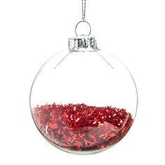 Pallina natalizia rossa in vetro D 6 cm PLUIE DE PAILLETTES   - Venduto x 12