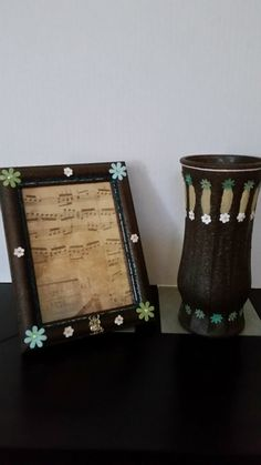 Vase 8 1/2 Inches Frame 5x7 Inches Brown Sandstone Set Glass Vase Wooden Frame Green White Blue Flowers Tibetan Silver Owl by Uniquelymade1431 on Etsy