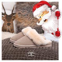 #kerst #pantoffel #wol #warmbat #slipper #mocassin #sheepskin #vacht #suede #kids #men #women
