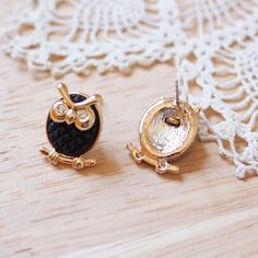 Cute Owl Stud Earrings in Black and Gold Color. $15.50, via Etsy.