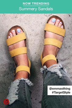 Sandals are the official shoes of summer! We've got all the styles: footbed, slides, flip-flops, wedges, platforms & more. Cute Shoes, Me Too Shoes, Shoe Boots, Shoes Sandals, Strappy Shoes, Sandals Outfit, Leather Sandals, Official Shoes, Crazy Shoes
