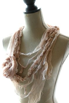 Fabric rag necklace, Gauze boho chic scarf, Valentines Day Jewelry, shabby blush statement necklace, boho chic jewelry, women's jewelry. $45.00, via Etsy.