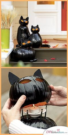 Best To Make Halloween Decorations {Spooktacular Halloween DIYs, Crafts And Projects!}- DIY Black Cat O Lanterns Pumpkin Carving Idea on Sunset - Spooktacular Halloween DIYs, Crafts and Projects - THE BEST Do it Yourself Halloween Decorations Porche Halloween, Casa Halloween, Holidays Halloween, Halloween Treats, Halloween Pumpkins, Happy Halloween, Halloween Costumes, Diy Cat Costume, Spongebob Halloween