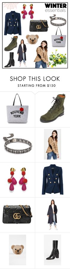"""winter essentials"" by monicaben ❤ liked on Polyvore featuring Kate Spade, Frye, Kendra Scott, Smythe, Lizzie Fortunato, Balmain, Gucci, MSGM, Moschino and Schutz"