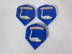 3 Vintage Dart Flights THE SWAN #na