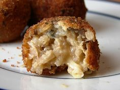 mushroom manchego risotto balls looks good! say manchengo and I'm there!