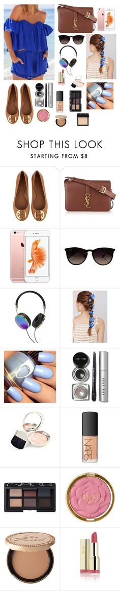 Summer by gabriellaallen on Polyvore featuring Tory Burch, Yves Saint Laurent, Ray-Ban, Bobbi Brown Cosmetics, NARS Cosmetics, Milani, Too Faced Cosmetics, By Terry, Frends and Rock 'N Rose