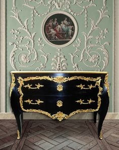 Baroque chest of drawers (commode) of style black Louis XV with 2 drawers