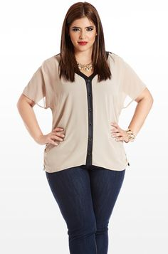 Buckle Down Sheer Faux-Leather Blouse