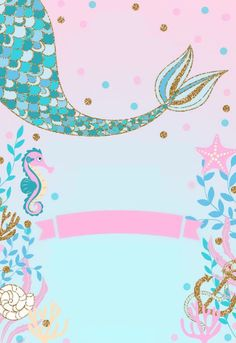 1st Birthday Party For Girls, Mermaid Theme Birthday, Birthday Party Themes, Unicorn Wallpaper Cute, Aniversario Star Wars, Mermaid Wallpapers, Animal Crafts For Kids, Backdrops For Parties, Baby Scrapbook