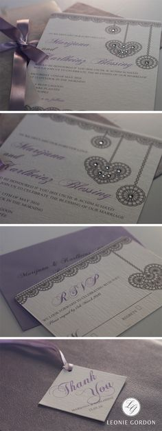 Leonie Gordon London Luxury Grey & Lilac Lace Wedding Invitation