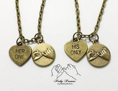 2 Her One His Only Pinky Promise Necklaces - Hand Stamped Heart Couples Jewelry - Bronze Boyfriend Girlfriend Necklaces - His Hers Necklace...