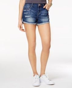 Vanilla Star Juniors' Ripped Denim Shorts - Blue 13