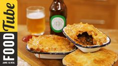 Aussie meat pie by Jamie Oliver Beef And Ale Pie, Steak And Ale, Beef Recipes, Cooking Recipes, Cooking Videos, Tart Recipes, What's Cooking, Food Videos, Individual Pie Dishes