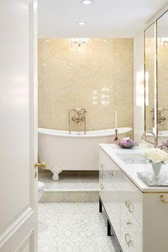Her Master Bath in Washington Square Park by Fawn Galli Interiors on Modern Bathtub, Modern Bathroom, Washington Square Park, Yellow Interior, Bath Fixtures, Bath Decor, Bathroom Inspiration, Bathroom Ideas, Living Room Modern