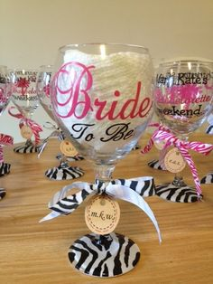 Bachelorette Party Glassware by TheClassyGlass on Etsy, $20.00 in cheetah though!