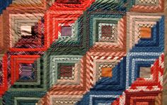 "Journal to a Muse: Quilts and a celebration of Boston Strong -  variation of the ""log cabin"" quilt block is known as a Trough Log Cabin, because of the diagonal bands of colors"