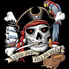 Small Garden Flag Tattoo Art Dead Men Pirate Parrot Cool Looking Tattoo Design Small Garden Flags, Pirate Parrot, Ecu Pirates, Pirate Photo, Skull Artwork, Scary Art, Pirate Skull, Skulls And Roses, Pirate Life