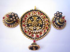 quilled jhumkas with pendant