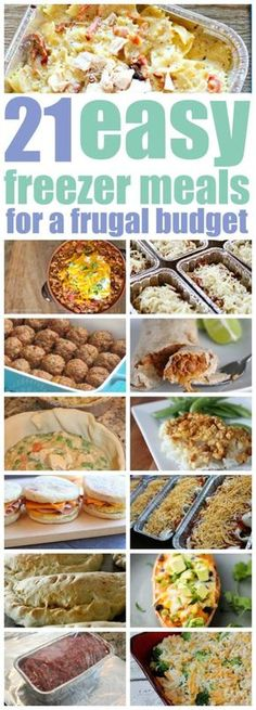 Easy Freezer Meals for a Frugal Budget. Easy Freezer Meals for a Frugal Budget. These easy freezer meals are guaranteed to become fast family favourites. 21 recipes that are easy to make, freeze and reheat when you need them. Budget Freezer Meals, Freezer Friendly Meals, Make Ahead Freezer Meals, Cooking On A Budget, Freezer Cooking, Frugal Meals, Easy Meals, Budget Dinners, Cheap Dinners