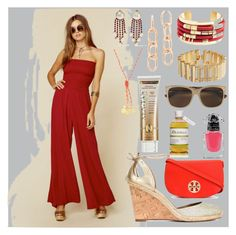 """""""Women in red"""" by camry-brynn ❤ liked on Polyvore featuring Blue Life, Brooks Brothers, Valentino, Alexander Wang, Emily & Ashley, Gucci, Aquazzura, Tory Burch, Guerlain and Xen-Tan"""