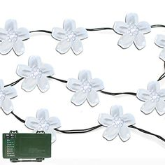 Lalapao Battery Operated Optional Automatic Timer String Lights 50 LED Blossom Flower Fairy Christmas Lighting Decor with 5 Modes For Outdoor Indoor Garden Patio Bedroom Wedding Decorations White * You can get additional details at the image link. (Note:Amazon affiliate link)