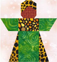Traditional African girl paper pieced pattern and quilt | LinleysDesigns - Patterns on ArtFire
