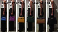 Hermes Kelly sz 20, 25, 28, 32, 35 and 40cm..... I want the 28!! The bag that came before the Birkin. It was eventually named and most famously worn by Princess Grace Kelly
