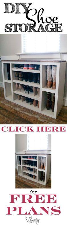 Best of Home and Garden: DIY Shoe Storage Cabinet - Shanty 2 Chic Diy Shoe Storage, Shoe Storage Cabinet, Storage Ideas, Clothes Storage, Bedroom Storage, Wood Storage, Diy Bedroom, Shoe Shelves, Diy Shoe Organizer