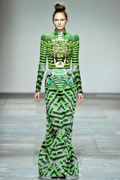 Mary Katrantzou...I think those green striped shoes would go nicely with this  !!
